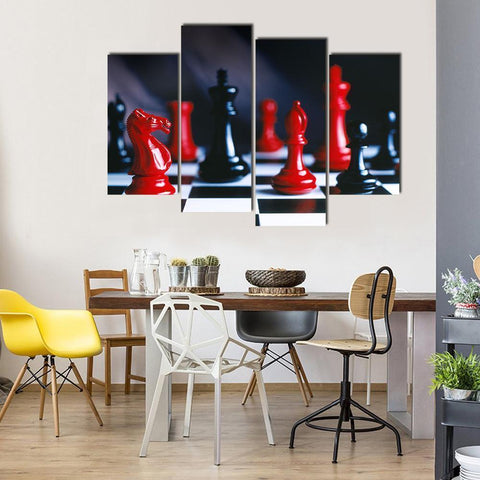 New Day Stock Store Canvas Paintings Small / 4 Pieces / No Frame Red And Black Chess Multi Piece Canvas Set