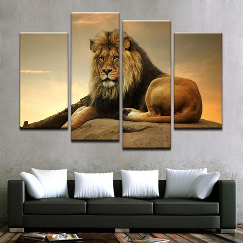 New Day Stock Store Canvas Paintings Small / 4 Pieces / No Frame Resting Lion Multi Panel Canvas Set