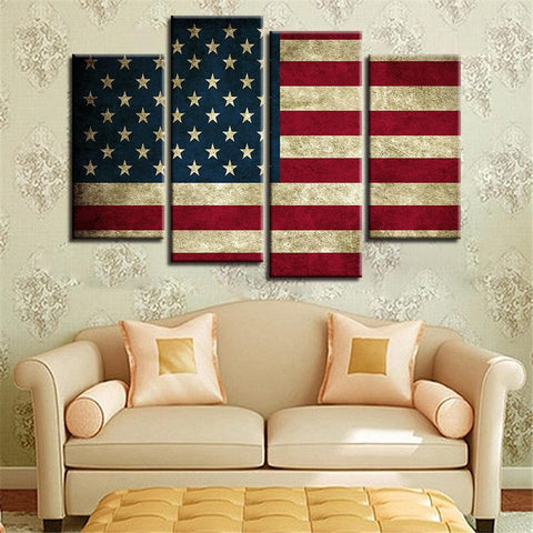 New Day Stock Store Canvas Paintings Small / 4 Pieces / No Frame Rustic American Flag Multi Piece Canvas Set