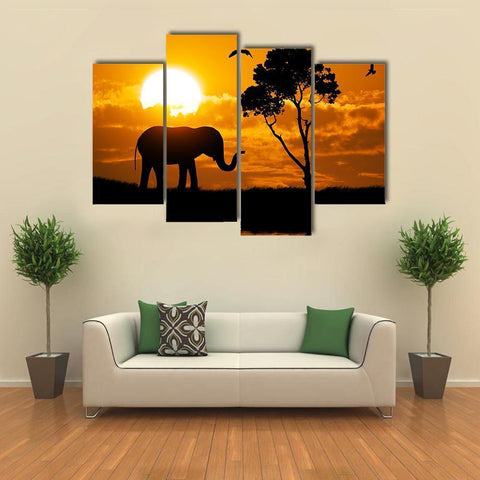 Image of New Day Stock Store Canvas Paintings Small / 4 Pieces / No Frame Silhouette Of Elephant Multi Piece Canvas Set