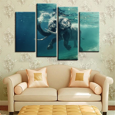 New Day Stock Store Canvas Paintings Small / 4 Pieces / No Frame Swimming Elephant Multi Piece Canvas Set