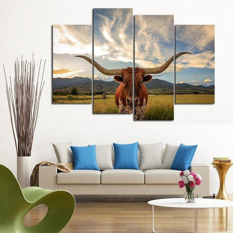 Image of New Day Stock Store Canvas Paintings Small / 4 Pieces / No Frame Texas Longhorn Cow Multi Piece Canvas Set
