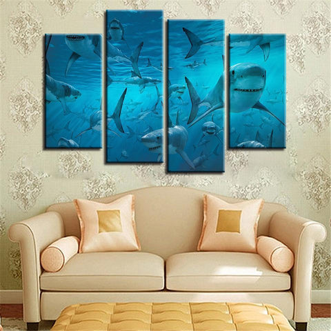 New Day Stock Store Canvas Paintings Small / 4 Pieces / No Frame The Shark Multi Panel Canvas Set