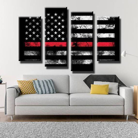New Day Stock Store Canvas Paintings Small / 4 Pieces / No Frame Thin Red Line Flag Multi Piece Canvas Set