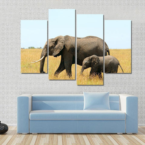 New Day Stock Store Canvas Paintings Small / 4 Pieces / No Frame Walking African Elephants Multi Piece Canvas Set