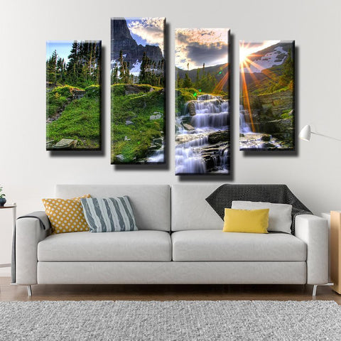 New Day Stock Store Canvas Paintings Small / 4 Pieces / No Frame Waterfall Sunset Multi Panel Canvas Set
