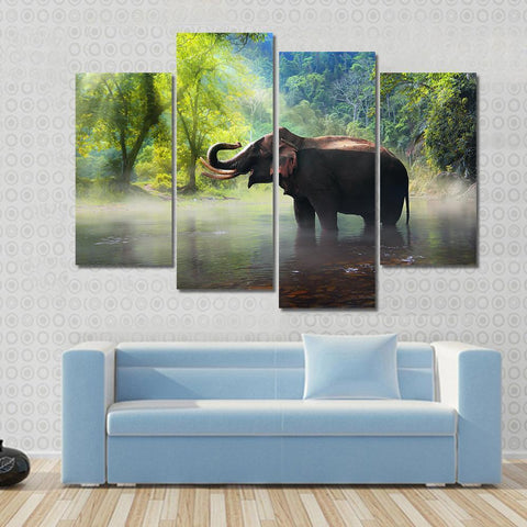 New Day Stock Store Canvas Paintings Small / 4 Pieces / No Frame Wild Elephant Multi Piece Canvas Set
