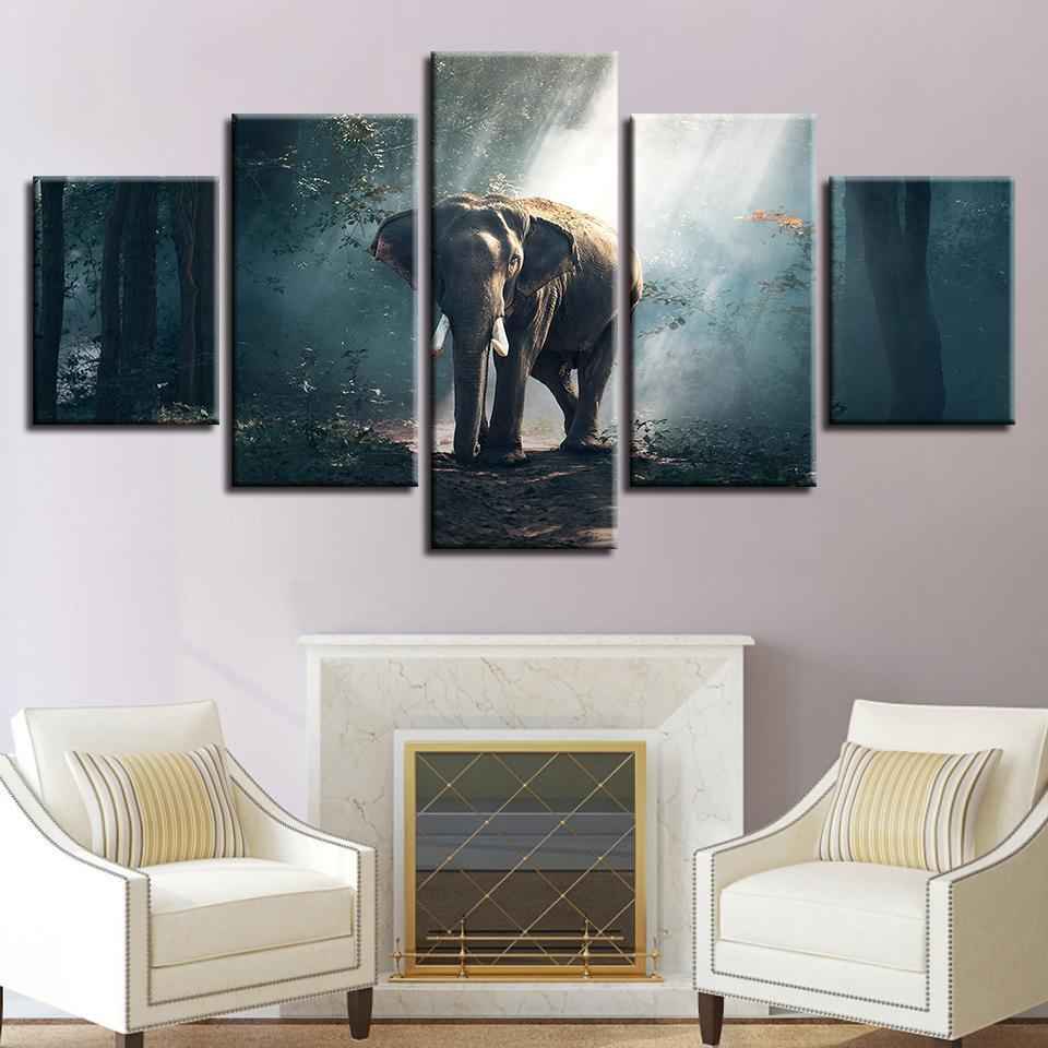 New Day Stock Store Canvas Paintings Small / 5 Pieces / No Frame African Forest Elephant Multi Piece Canvas Set
