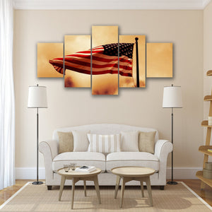 New Day Stock Store Canvas Paintings Small / 5 Pieces / No Frame American Flag Waving In The Wind Multi Panel Canvas Set