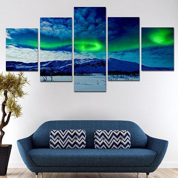New Day Stock Store Canvas Paintings Small / 5 Pieces / No Frame Aurora Borealis Balls Multi Piece Canvas Set