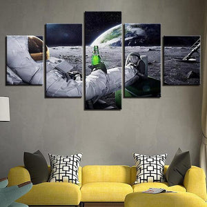 New Day Stock Store Canvas Paintings Small / 5 Pieces / No Frame Beer Drinking Astronaut Multi Piece Canvas Set