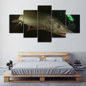 New Day Stock Store Canvas Paintings Small / 5 Pieces / No Frame Big Muskie Fishing Multi Panel Canvas Set