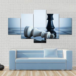 New Day Stock Store Canvas Paintings Small / 5 Pieces / No Frame Black Chess Defeats White King Multi Piece Canvas Set