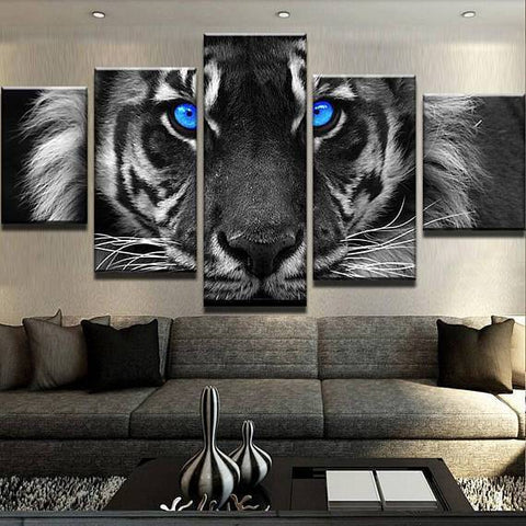 New Day Stock Store Canvas Paintings Small / 5 Pieces / No Frame Blue Eyed Tiger Multi Panel Canvas Set