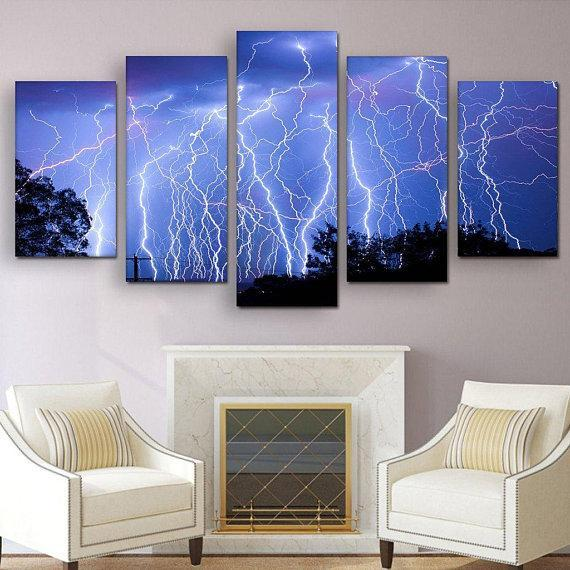 New Day Stock Store Canvas Paintings Small / 5 Pieces / No Frame Blue Lightning Multi Piece Canvas Set