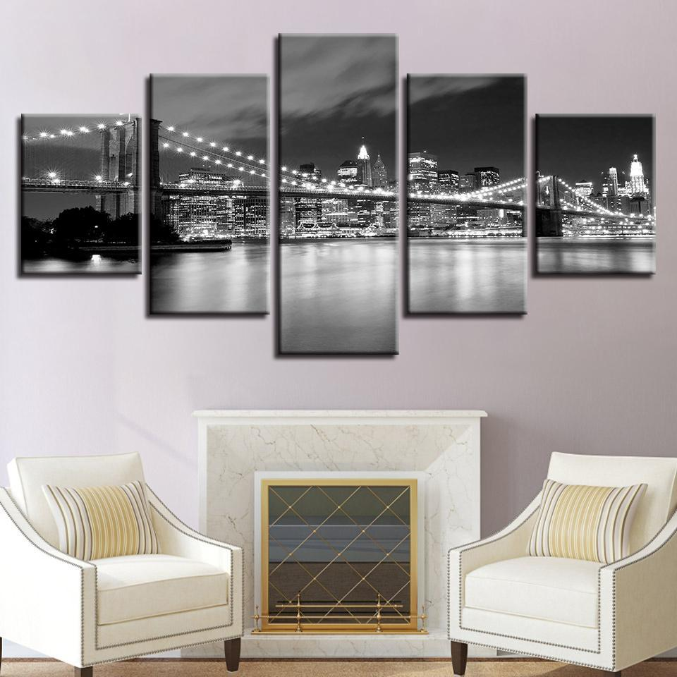 New Day Stock Store Canvas Paintings Small / 5 Pieces / No Frame Brooklyn Bridge At Night Multi Piece Canvas Set