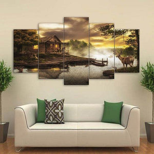 New Day Stock Store Canvas Paintings Small / 5 Pieces / No Frame Cabin By the Lake Multi Piece Canvas Set