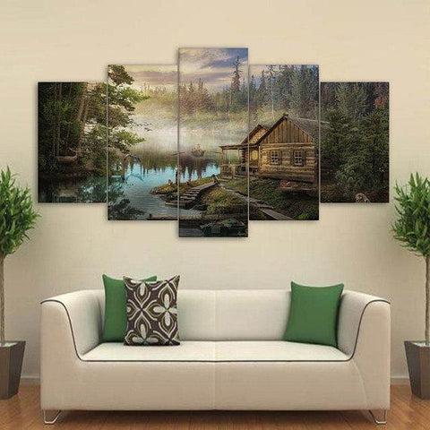 New Day Stock Store Canvas Paintings Small / 5 Pieces / No Frame Cabin On the Lake Multi Piece Canvas Set