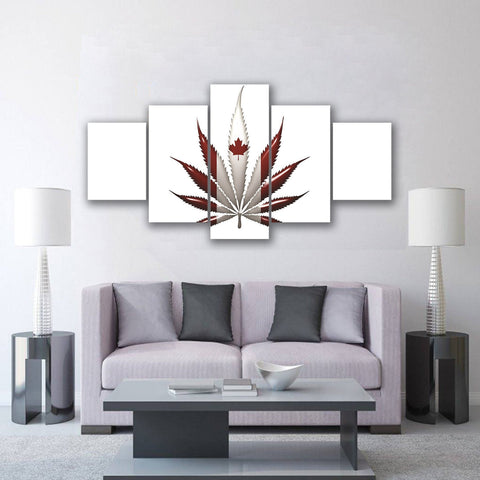 Image of New Day Stock Store Canvas Paintings Small / 5 Pieces / No Frame Cannabis Canada Multi Panel Canvas Set