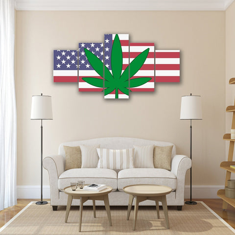 Image of New Day Stock Store Canvas Paintings Small / 5 Pieces / No Frame Cannabis Murica Multi Panel Canvas Set