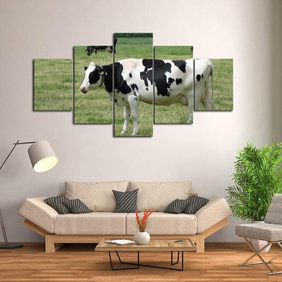 New Day Stock Store Canvas Paintings Small / 5 Pieces / No Frame Dairy Cow Farmer Multi Piece Canvas Set
