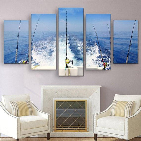 New Day Stock Store Canvas Paintings Small / 5 Pieces / No Frame Deep Sea Fishing Multi Piece Canvas Set
