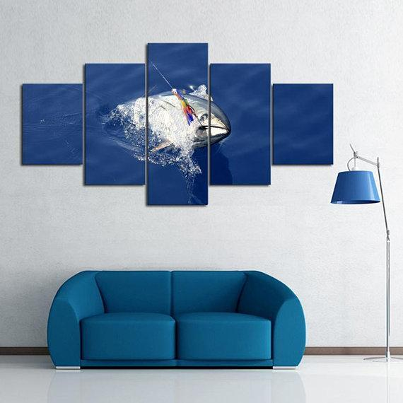 New Day Stock Store Canvas Paintings Small / 5 Pieces / No Frame Deep Sea Tuna Fishing Multi Panel Canvas Set