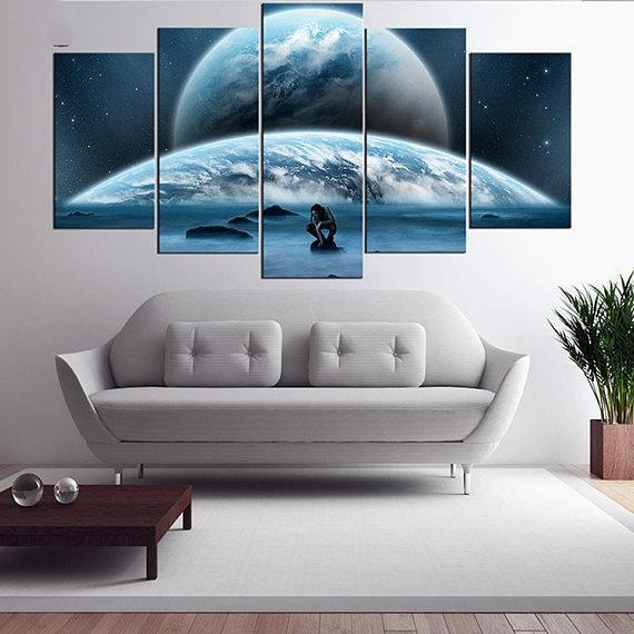 New Day Stock Store Canvas Paintings Small / 5 Pieces / No Frame Earth Man Galaxy Multi Piece Canvas Set