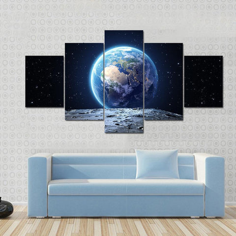 Image of New Day Stock Store Canvas Paintings Small / 5 Pieces / No Frame Earth View From Asteroid In Space Multi Panel Canvas Set