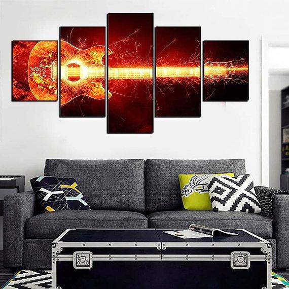 New Day Stock Store Canvas Paintings Small / 5 Pieces / No Frame Electrified Guitar Multi Piece Canvas Set