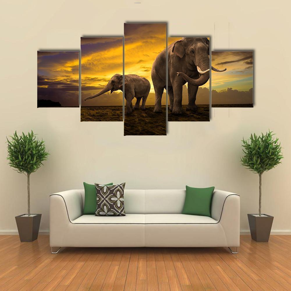 New Day Stock Store Canvas Paintings Small / 5 Pieces / No Frame Elephants Family On Sunset Multi Piece Canvas Set