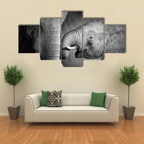 Image of New Day Stock Store Canvas Paintings Small / 5 Pieces / No Frame Elephants Showing Affection Multi Piece Canvas Set