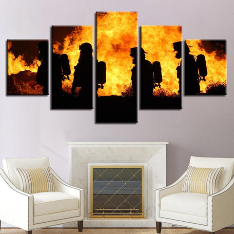 Image of Firefighters in Action Multi Piece Canvas Set - newdaystock