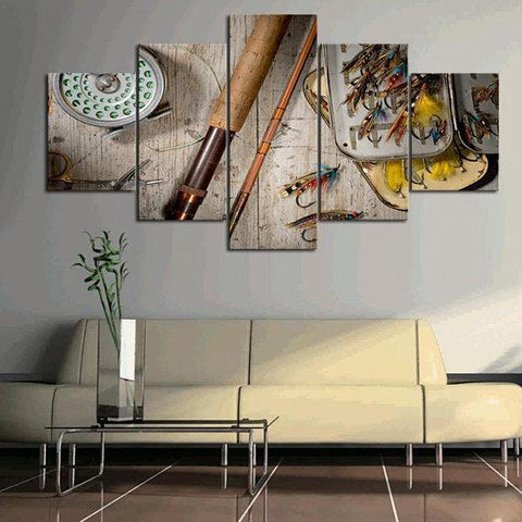 Image of New Day Stock Store Canvas Paintings Small / 5 Pieces / No Frame Fly Fishing Multi Panel Canvas Set
