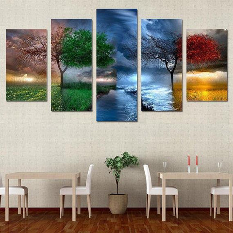 New Day Stock Store Canvas Paintings Small / 5 Pieces / No Frame Four Seasons Multi Piece Canvas Set