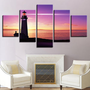 New Day Stock Store Canvas Paintings Small / 5 Pieces / No Frame Lighthouse At Sunset Multi Piece Canvas Set