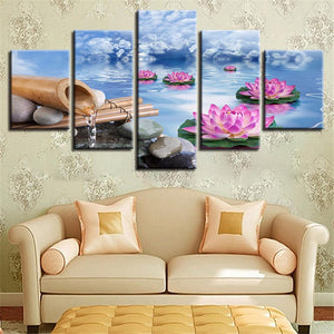 New Day Stock Store Canvas Paintings Small / 5 Pieces / No Frame Lotus Calmness Flower Multi Panel Canvas Set