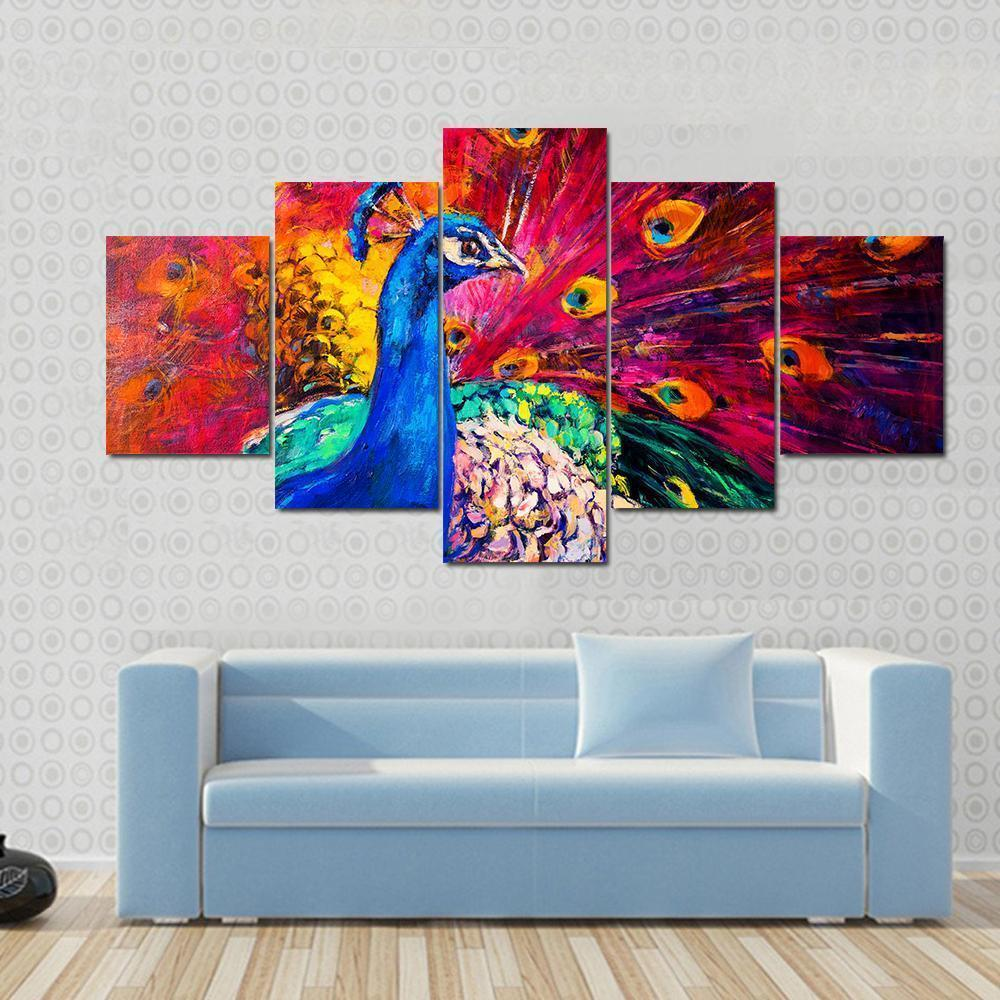 New Day Stock Store Canvas Paintings Small / 5 Pieces / No Frame Multicolored Peacock Multi Piece Canvas Set