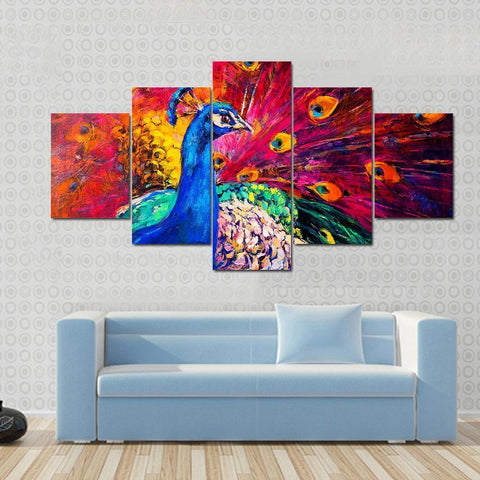 Image of New Day Stock Store Canvas Paintings Small / 5 Pieces / No Frame Multicolored Peacock Multi Piece Canvas Set