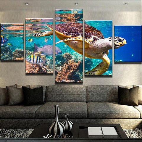 Image of New Day Stock Store Canvas Paintings Small / 5 Pieces / No Frame Ocean Turtle Multi Piece Canvas Set