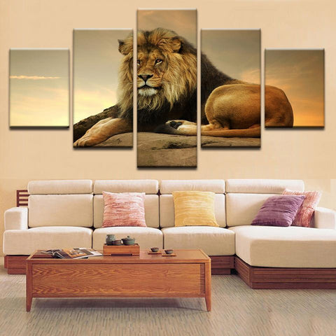 Image of New Day Stock Store Canvas Paintings Small / 5 Pieces / No Frame Resting Lion Multi Panel Canvas Set