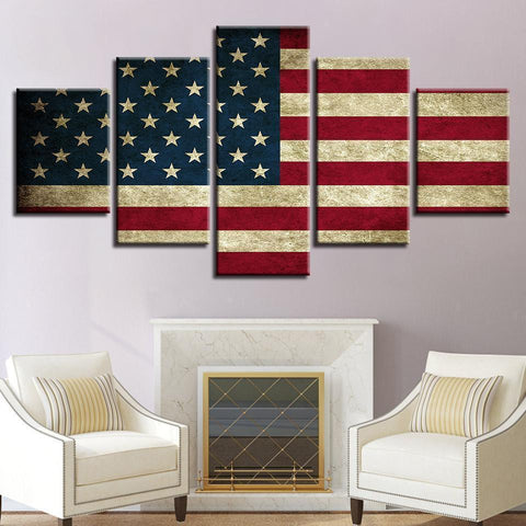 New Day Stock Store Canvas Paintings Small / 5 Pieces / No Frame Rustic American Flag Multi Piece Canvas Set