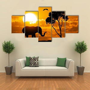 New Day Stock Store Canvas Paintings Small / 5 Pieces / No Frame Silhouette Of Elephant Multi Piece Canvas Set