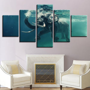 New Day Stock Store Canvas Paintings Small / 5 Pieces / No Frame Swimming Elephant Multi Piece Canvas Set