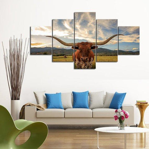 Image of New Day Stock Store Canvas Paintings Small / 5 Pieces / No Frame Texas Longhorn Cow Multi Piece Canvas Set
