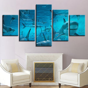 New Day Stock Store Canvas Paintings Small / 5 Pieces / No Frame The Shark Multi Panel Canvas Set