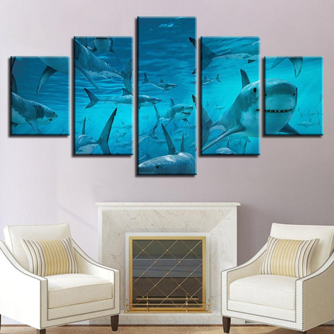 Image of New Day Stock Store Canvas Paintings Small / 5 Pieces / No Frame The Shark Multi Panel Canvas Set
