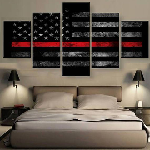 New Day Stock Store Canvas Paintings Small / 5 Pieces / No Frame Thin Red Line Flag Multi Piece Canvas Set