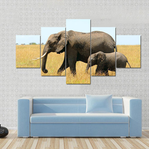 New Day Stock Store Canvas Paintings Small / 5 Pieces / No Frame Walking African Elephants Multi Piece Canvas Set