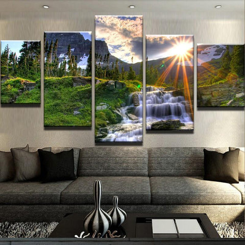 New Day Stock Store Canvas Paintings Small / 5 Pieces / No Frame Waterfall Sunset Multi Panel Canvas Set